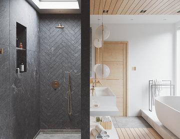 Modern Contemporary Bathroom - Walk-in shower