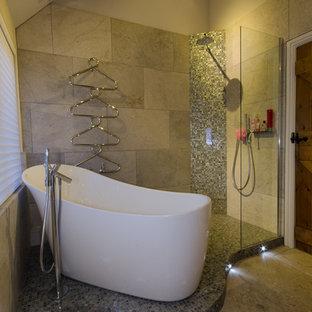 Transitional beige tile bathroom photo in West Midlands