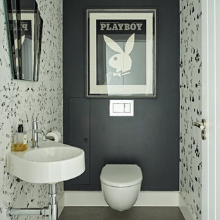 Inspiration for a large contemporary family bathroom in Hertfordshire with a freestanding bath and white floors.
