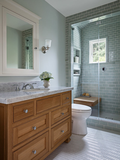 mid sized craftsman 34 green tile and subway tile porcelain floor and white - Craftsman Bathroom Ideas