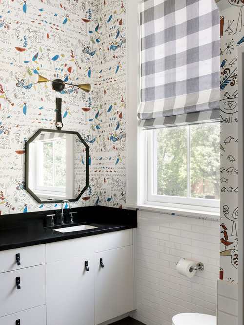 Example Of A Transitional Kidsu0027 White Tile And Subway Tile Black Floor  Bathroom Design In