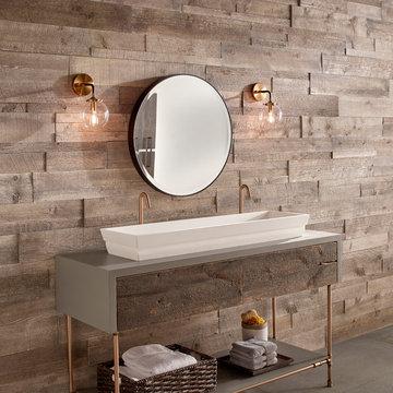 Modern Farmhouse Bathroom With Vintage Ranch Wood Walls