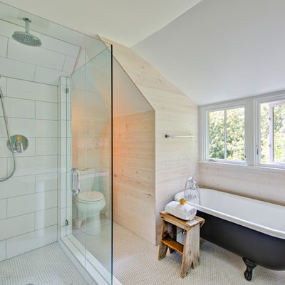 Bathroom - cottage white tile and subway tile bathroom idea in Portland with a two-piece toilet