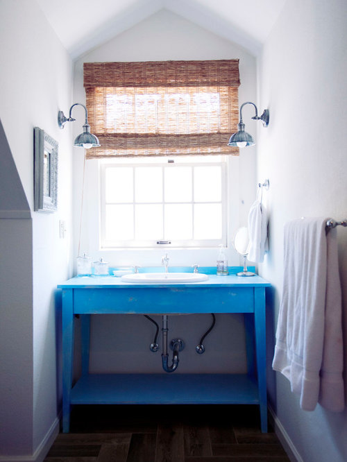 inspiration for a farmhouse bathroom remodel in san francisco with a dropin sink