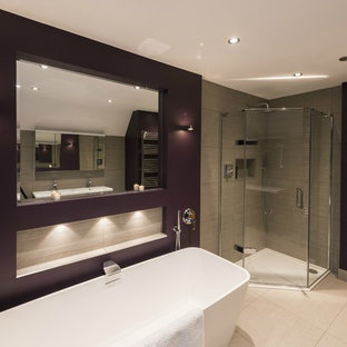 Modern Freestanding Bath with Wall Spout and Recessed Mirror