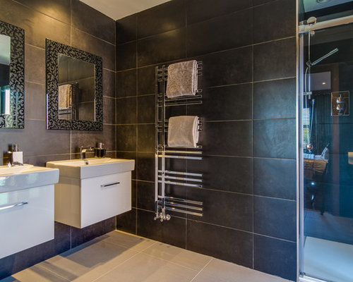 Northern Ireland Bathroom Design Ideas Renovations Photos With Brown Tiles