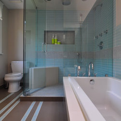 249 corner shower Bathroom Design Photos with an Alcove Tub, a Drop-In