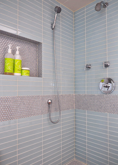 Contemporary Bathroom by Habitar Design. 6 Spot on Places to Use Penny Tiles
