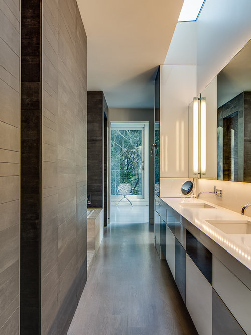 Modern Bathroom Idea In San Francisco With An Undermount Sink, Flat Panel  Cabinets And Part 61