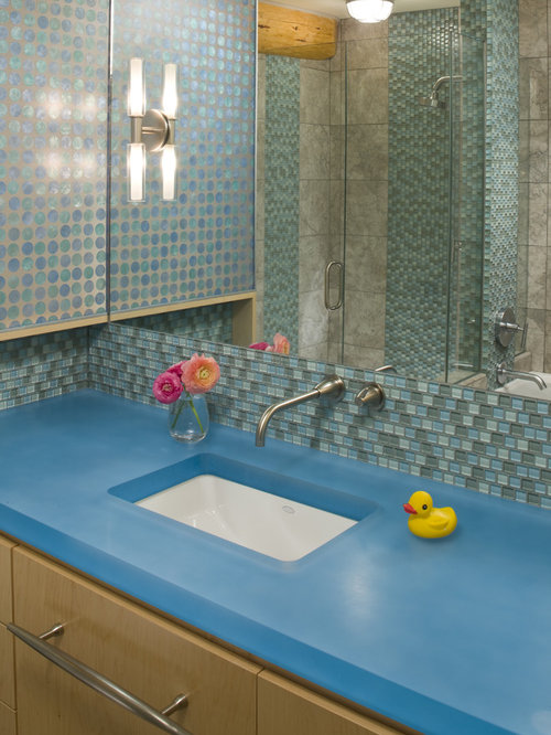 Contemporary Kidsu0027 Mosaic Tile Bathroom Idea In Other