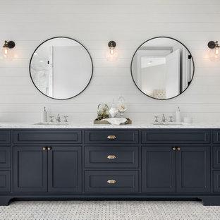 Farmhouse Bathroom With Black Cabinets