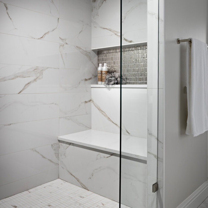 Inspiration for a large modern master white tile and porcelain tile porcelain tile, white floor and double-sink bathroom remodel in Detroit with recessed-panel cabinets, dark wood cabinets, a one-piec