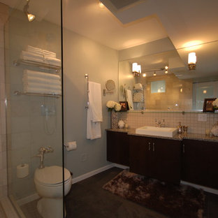 Mid-sized master white tile slate floor corner shower photo in Chicago with an undermount sink, flat-panel cabinets, dark wood cabinets, a one-piece toilet and gray walls