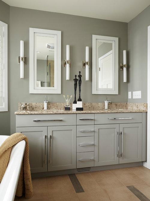 Inspiration For A Small Modern Master Beige Tile And Ceramic Tile Ceramic  Floor Freestanding Bathtub Remodel