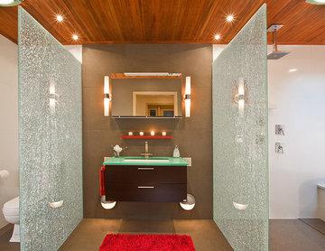 Modern Master Bath with a Zen Touch