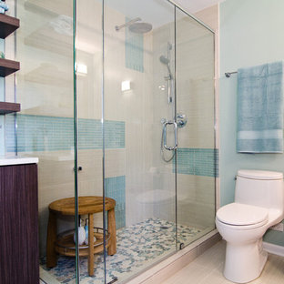 シカゴのコンテンポラリースタイルのおしゃれな浴室 (フラットパネル扉のキャビネット、濃色木目調キャビネット、アルコーブ型シャワー、一体型トイレ、青いタイル、ボーダータイル) の写真