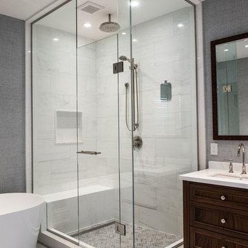 Modern Master Bathroom Renovation, Corner Shower, Shower Niche, Rain Shower Head