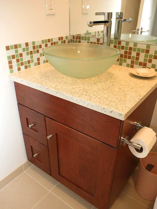 Bathroom Design Ideas Remodels Photos With Recycled Glass Countertops And Multicolored Tile
