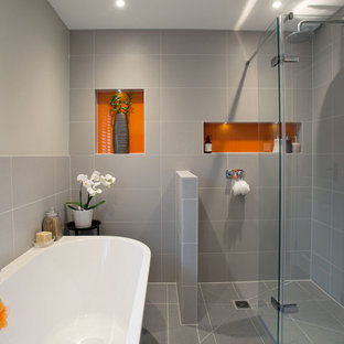 Modern, Minimal Family Bathroom With Orange Accents   Burgess Hill