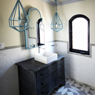 Example of a small tuscan 3/4 white tile ceramic floor bathroom design in Los Angeles with a vessel sink, furniture-like cabinets, gray cabinets, zinc countertops, a one-piece toilet and white walls