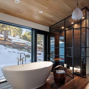 Ejemplo de cuarto de baño principal, rústico, de tamaño medio, sin sin inodoro, con bañera exenta
