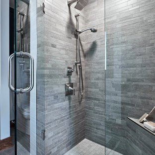 Design ideas for a small rustic ensuite bathroom in Richmond with recessed-panel cabinets, grey cabinets, an alcove shower, a two-piece toilet, white walls, porcelain flooring, a submerged sink, engineered stone worktops, grey floors, a hinged door and white worktops.