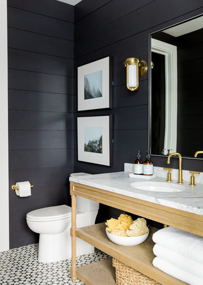 Cute Transitional Bathroom by Studio McGee