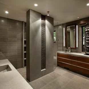 Inspiration for a large contemporary master multicolored tile gray floor bathroom remodel in Sacramento with a drop-in sink