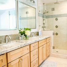 Bathroom, cherry cabinets