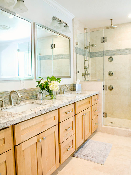 Transitional Bathroom Idea In San Francisco With Granite Countertops