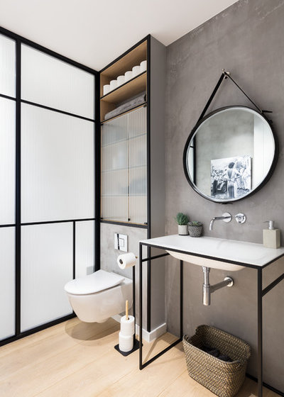 Great Contemporary Powder Room by Black and Milk Interior Design London