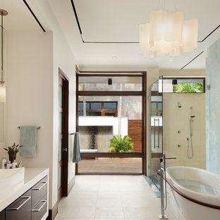 Inspiration for a contemporary master multicolored tile white floor bathroom remodel in Miami with flat-panel cabinets, dark wood cabinets, white walls and a vessel sink