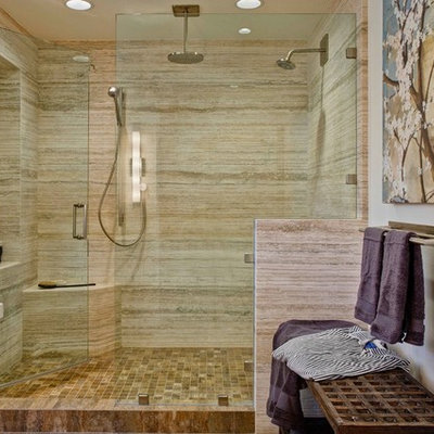Bathroom - transitional beige tile bathroom idea in San Diego with white walls and a niche