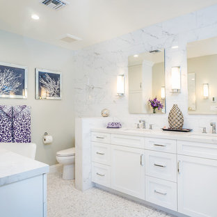 Photo of a large traditional ensuite bathroom in Los Angeles with shaker cabinets, white cabinets, a built-in shower, white tiles, mosaic tiles, grey walls, mosaic tile flooring, a submerged sink and engineered stone worktops.