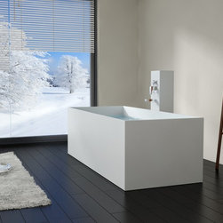 Modern Rectangle Stone Resin Body Forming Freestanding Bathtub - BW-06 - Matte - Photos Owned by Badeloft USA LLC