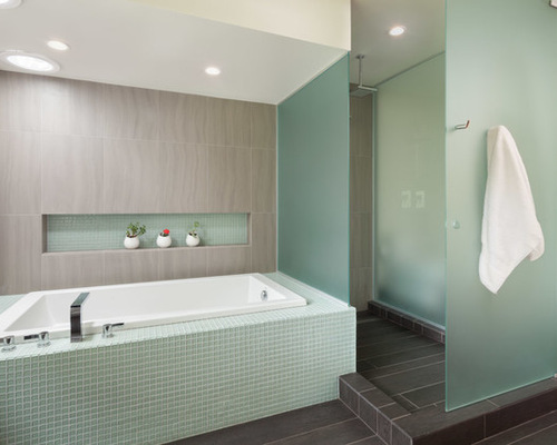 Gray Green Glass Tiles Houzz