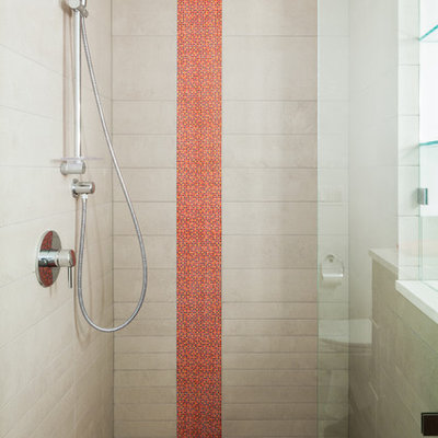 Example of a mid-sized trendy 3/4 gray tile and porcelain tile porcelain tile alcove shower design in Denver with white walls, a vessel sink and solid surface countertops