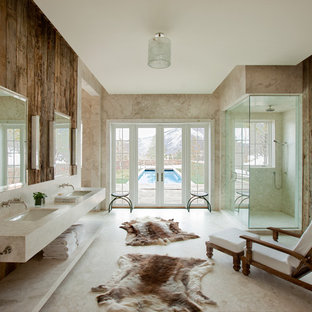 Inspiration for a large rustic master marble floor corner shower remodel in Denver with an undermount sink, open cabinets, marble countertops and beige walls