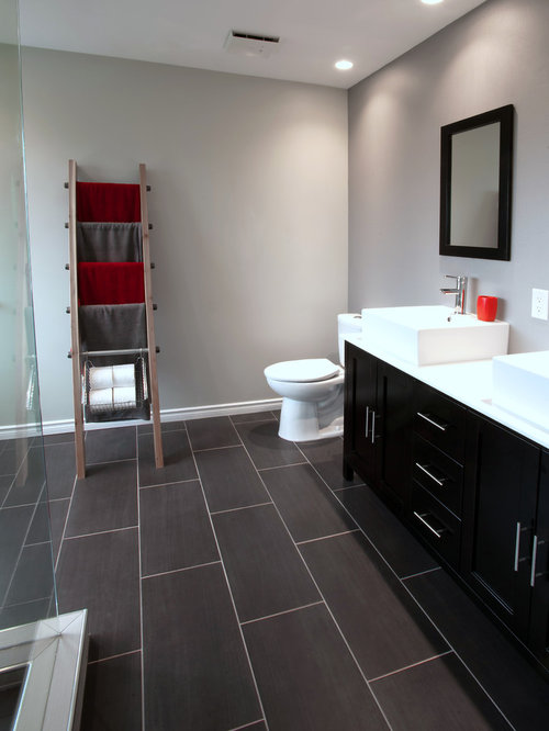 Wood Look Tile Floor Bathroom Gray