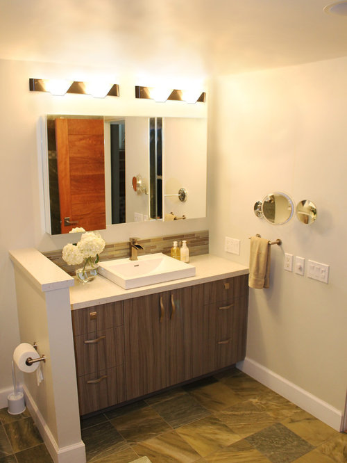 Inspiration For A Small Contemporary 3/4 Beige Tile And Porcelain Tile  Porcelain Floor Alcove