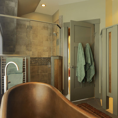Bathroom - contemporary mosaic tile bathroom idea in Burlington