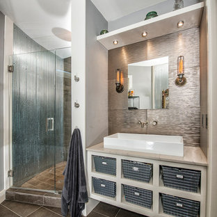 Design ideas for a contemporary bathroom with a vessel sink and metal tile.