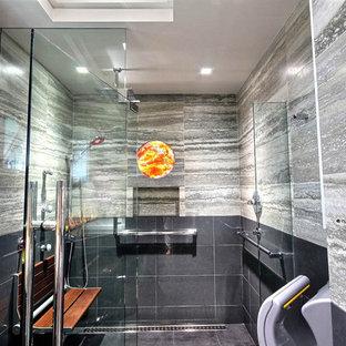 Minimalist porcelain tile walk-in shower photo in Hawaii