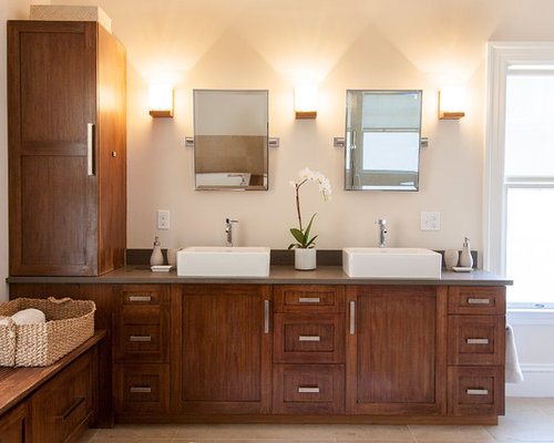 Inspiration For A Contemporary Bathroom Remodel In Boston With A Vessel  Sink And Dark Wood Cabinets Part 93
