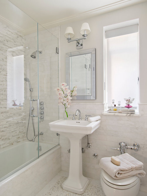 Example Of A Small Classic Master White Tile Marble Floor Bathroom Design  In Miami With A