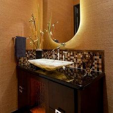 Transitional Bathroom by AVID Associates LLC