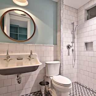Expansive country bathroom in Austin with recessed-panel cabinets, purple cabinets, an alcove tub, an open shower, a one-piece toilet, multi-coloured tile, stone tile, pink walls, marble floors, an undermount sink and marble benchtops.