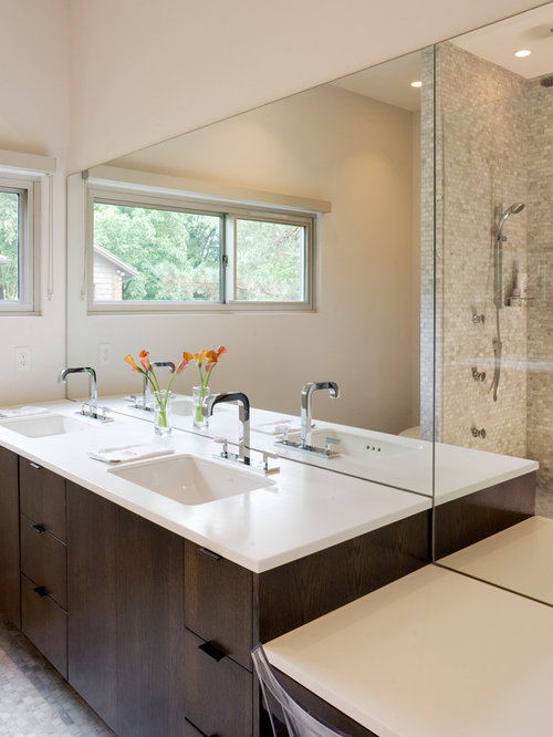 example of a minimalist mosaic tile bathroom design in kansas city with an undermount sink