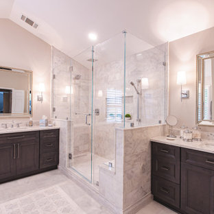 Modern White and Gray Marble Master Bathroom in Fairfax Station, VA