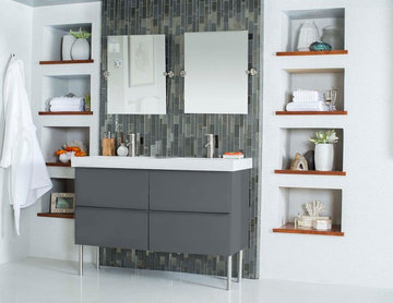 Modern white and grey bathroom with glass mosaic